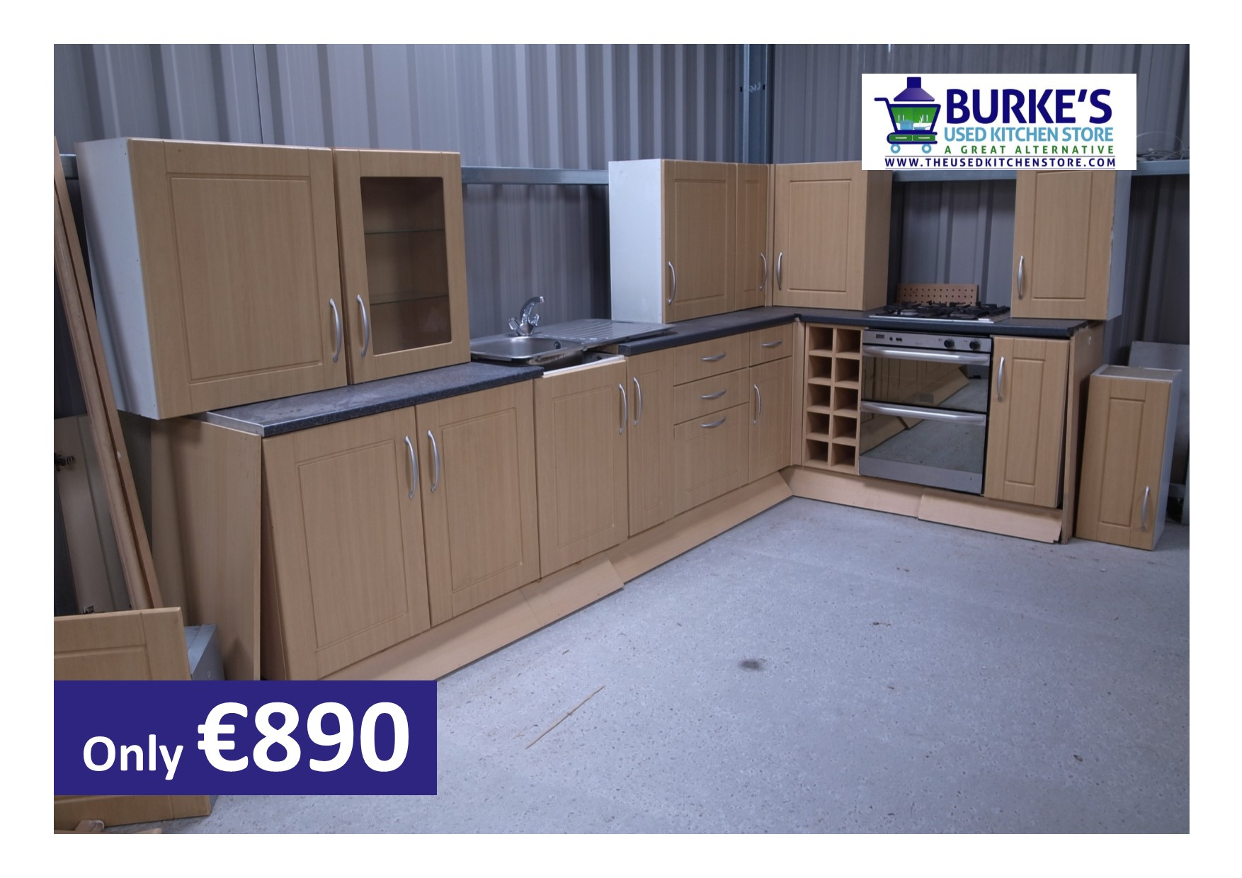the used kitchen store maple effect kitchen with stainless steel