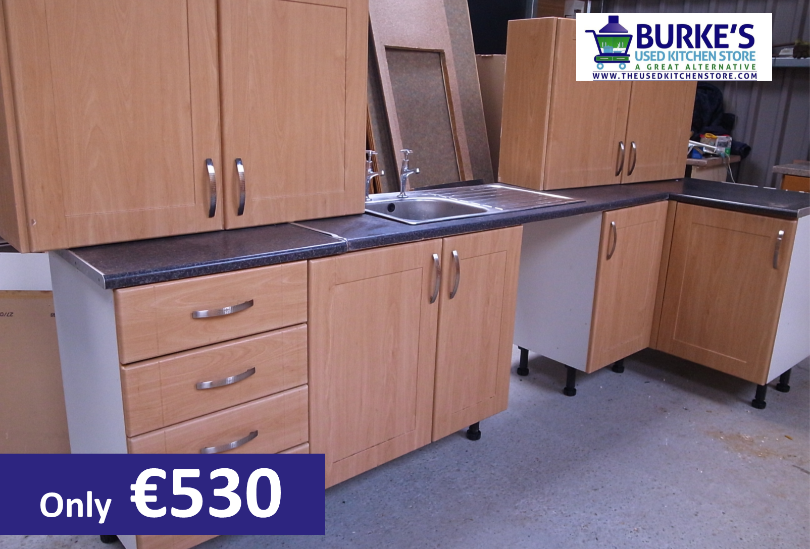 Sold For Sale Modern Maple Effect Kitchen With Sink Only 530 The Used Kitchen Store